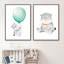 Baby Hippo Balloon Nursery Wall Art Canvas Painting Cartoon Nordic Posters And Prints Wall Pictures For Girl Boy Kids Room Decor baby girl room decor nordic cartoon pictures for kids room posters and prints nursery simple quote cat wall art canvas painting