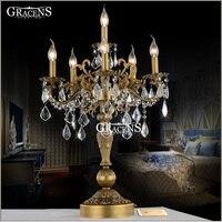 Винтажный бронзового цвета настольная лампа Роскошная прозрачная Хрустальная настольная лампа с свадебный канделябр для отеля ресторана