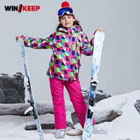 Colorful Printed Girls Winter Skiing Tracksuit Snowboarding Suit Kids Cotton Padded Thick Warm Sportswear Set Children Ski Suit