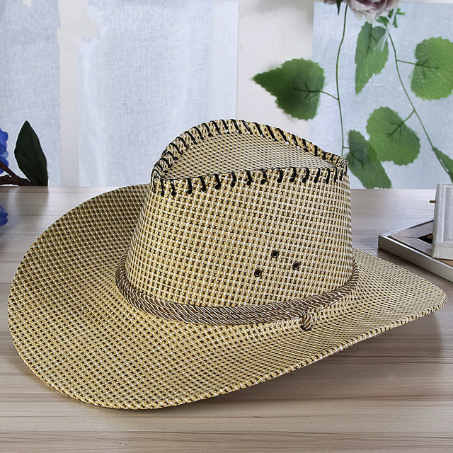 6684b469 Summer Fashion Men Solid Straw Western Cowboy Hat With Rope Wide Curling  Brim Cap Chin Strap Beach Sun Hats UV Protection