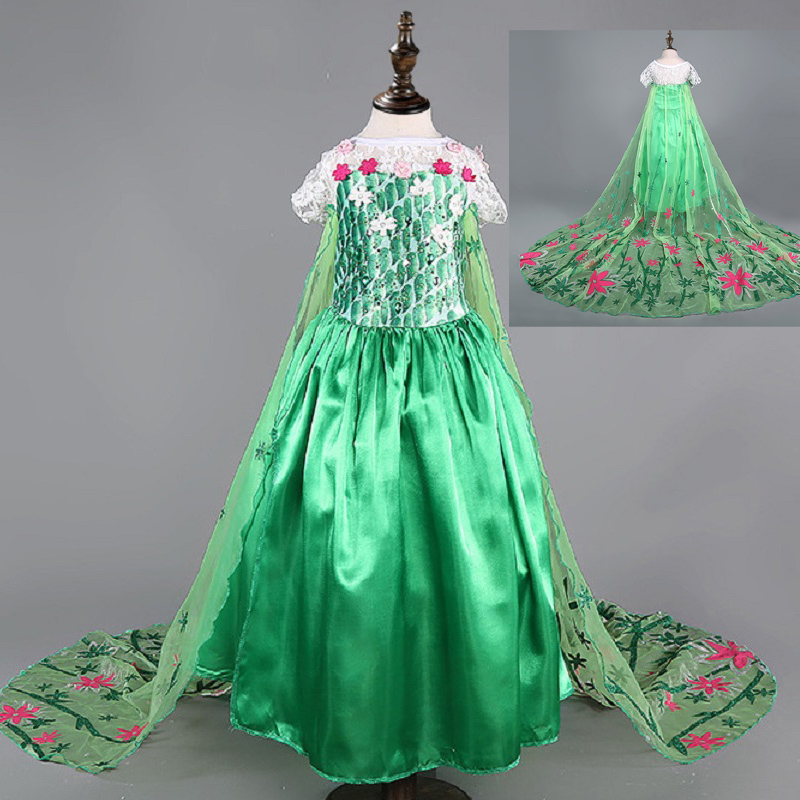 Hijau Elsa berpakaian kostum gadis demam untuk kanak-kanak salji bunga ratu pakaian anak-anak pakaian vestidos infantis de festa disfraz