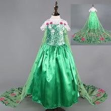 Verde elsa vestido febre meninas traje para crianças neve rainha vestidos de flores crianças roupas infantis festa disfraz
