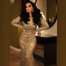 Robe De Soiree 2015 Bling Bling Gold Pailletten Perlen Sheer Long Sleeve Abendkleider Arabischen Meerjungfrau Kleid