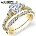 Три Камня Лаборатория Grown Бриллиантовое Кольцо 1CT Moissanites Свадебный Комплект 14 К Желтого Золота Обручальные Кольца Enternal Бесконечность Кольца