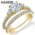 Three Stone Lab Grown Diamond Ring 1CT Moissanites Bridal Set 14K Yellow Gold Wedding Engagement Rings Enternal Infinity Ring