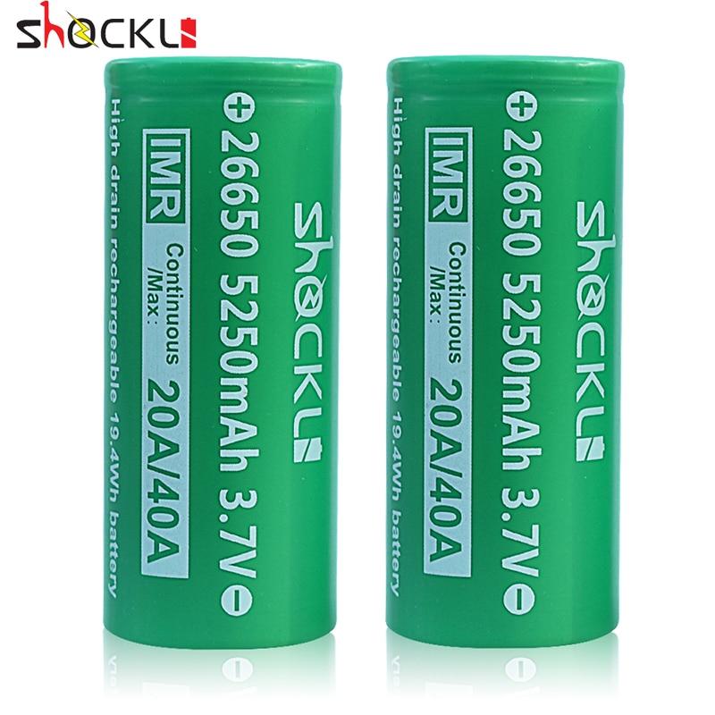 26650 батарея Shockli 26650 5250 мАч 5000 мАч 20A 3,7 в литий-ионная аккумуляторная батарея для фонарика DQG TINY ODF30