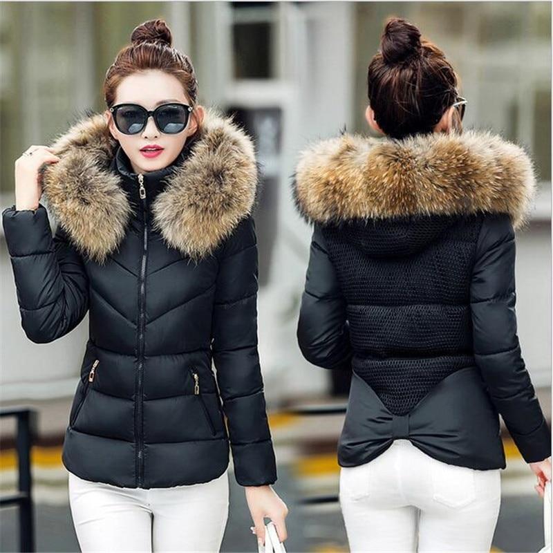 Slim Jacket Women   Parkas   Winter Fur Collar Coats Hooded Cotton Padded Short Jackets Female Warm Black Outwear Overcoat KNHJ633