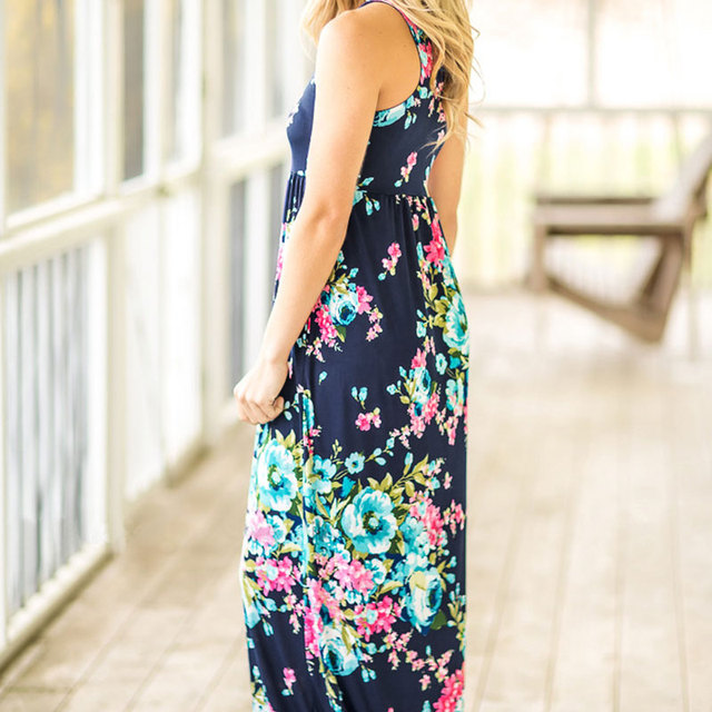 2018 VESSOS Women Max Dresses Fashion Tank Sleeve Floral Pocket Sleeveless Maxi Dress Polyester Floor-Length Navy Blue Casual 1