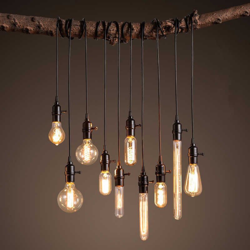 Nordic Edison Bulbs E27/220V Pendant Lights Lamp Holder Vintage Adjustable  Luminaire Industrial Lighting For Loft Living Room