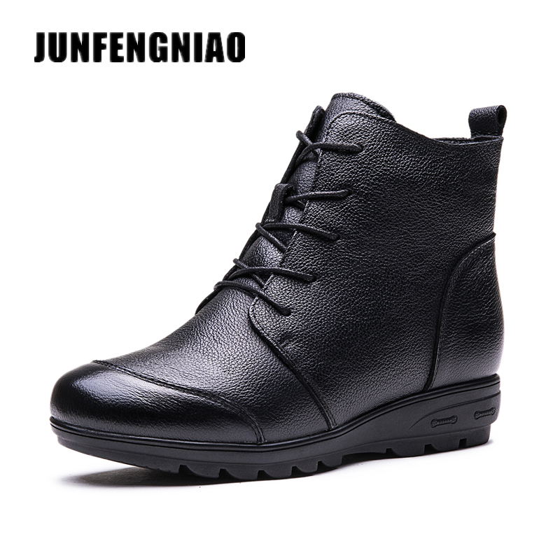 JUNFENGNIAO Fashion Women Shoes Boots Cow Winter Fur Plush Round Toe Rubber Genuine Leather Lace Up Zipper Superstar GZXM-615 2018 fashion cow leather zipper superstar winter boots women round toe low heel solid concise pregnant chelsea ankle boots l08