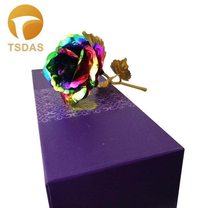 1 adet 24 k Altın Folyo Gül Ile 7 Renkler Yapay Altın Çiçek - Tatiller ve Partiler Için - Fotoğraf 2