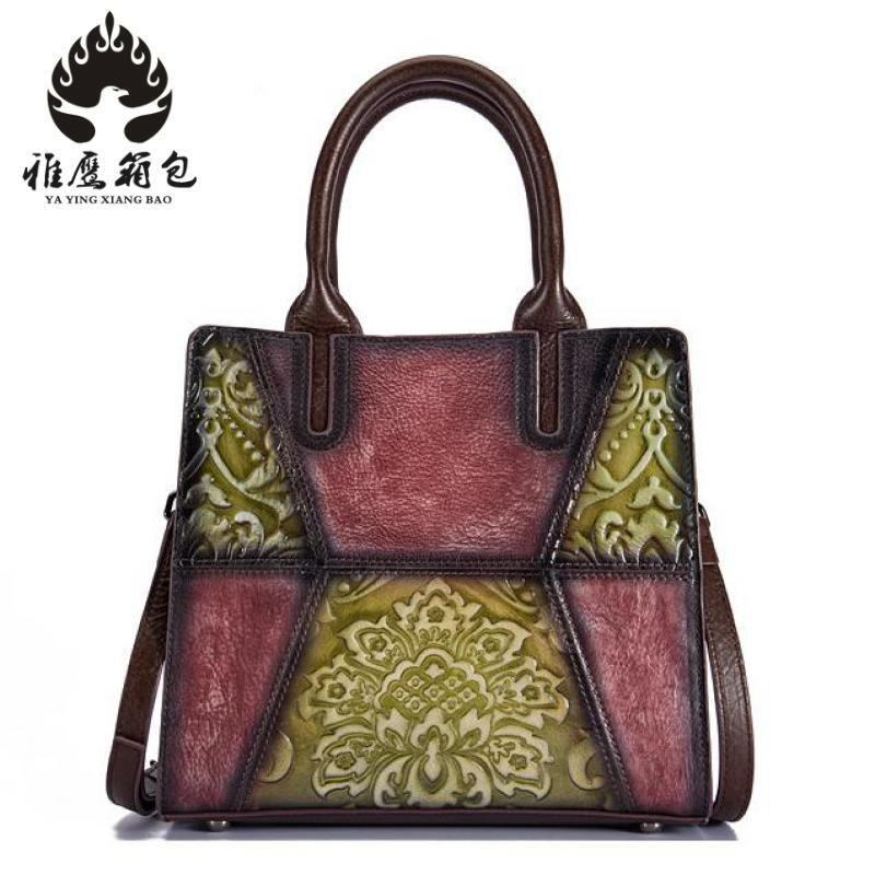 Genuine Leather Handbags Head Layer Cowhide Flowers Women Handbags Fashion Portable Shoulder Messenger Bags Composite Bags women new handbags retro genuine leather handbag shoulder bag head layer cowhide messenger bags female pure hand made bags