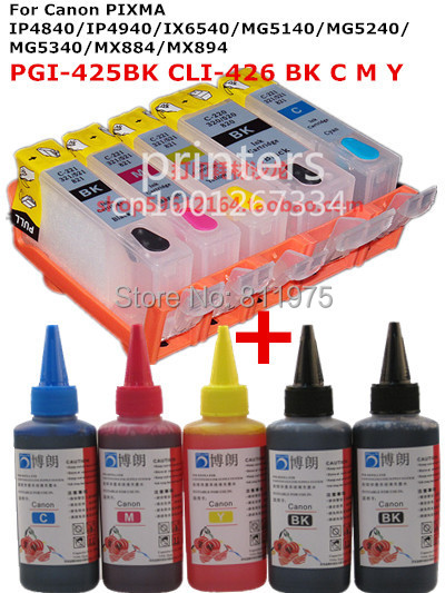 For CANON IP4840/IP4940 IX6540 MG5140/MG5240/MG5340 MX714/MX884/MX894 PGI-425 refillable ink cartridge+ 5 Color Dye Ink 500mlFor CANON IP4840/IP4940 IX6540 MG5140/MG5240/MG5340 MX714/MX884/MX894 PGI-425 refillable ink cartridge+ 5 Color Dye Ink 500ml