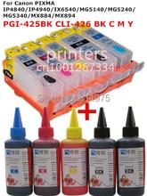 Для CANON IP4840/IX6540 MG5140 IP4940/MG5240/MG5340 MX714/MX884/MX894 PGI-425 многоразового картридж + 5 Цвет Чернил на Основе Красителя 500 мл