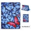 Blue Butterfly Pattern Кожа PU Полный Чехол для Тела с Подставкой для iPad Air 2