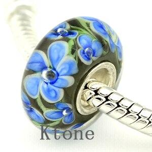 1 Piece , New Arrival 3D Flower Lampwork Glass Beads Fit European Pandora Charms Bracelets Necklace,DIY Jewelry , LGB023