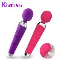 Khalesex Güçlü oral klitoris Vibratörler Kadınlar için USB Şarj AV Sihirli Değnek Vibratör Masajı Yetişkin Seks Oyuncakları Kadın için Masturbator