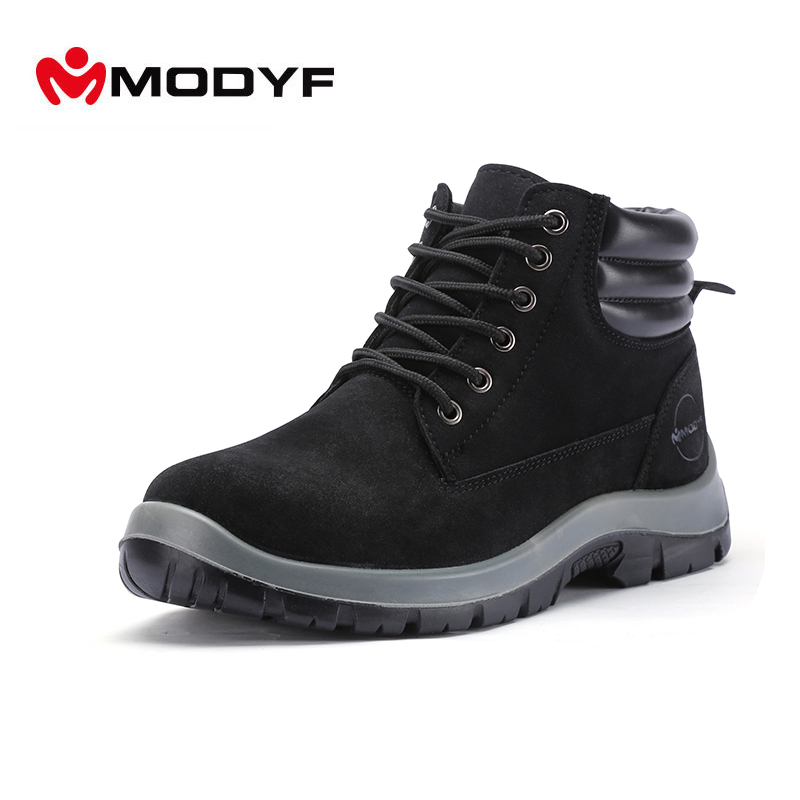 Modyf Mens fall winter Steel Toe Cap work Safety shoes outdoor winter boots fashion puncture proof footwear ankle boots
