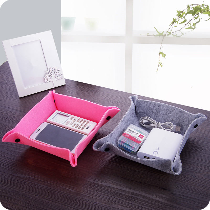 1pc Felt Organizer Box Set Stationery Desk Organizer Supplies Desktop Bag Set For Student