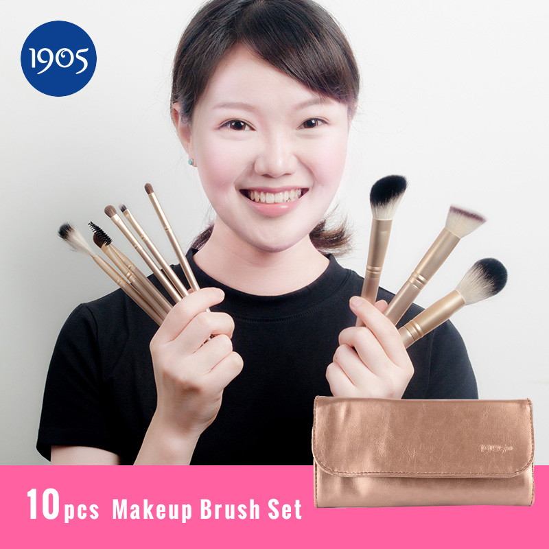 10pcs makeup brushes Professional tools Cosmetic Makeup Brush set Foundation Brush for Make up kit pinceaux maquillage professional bullet style cosmetic make up foundation soft brush golden white