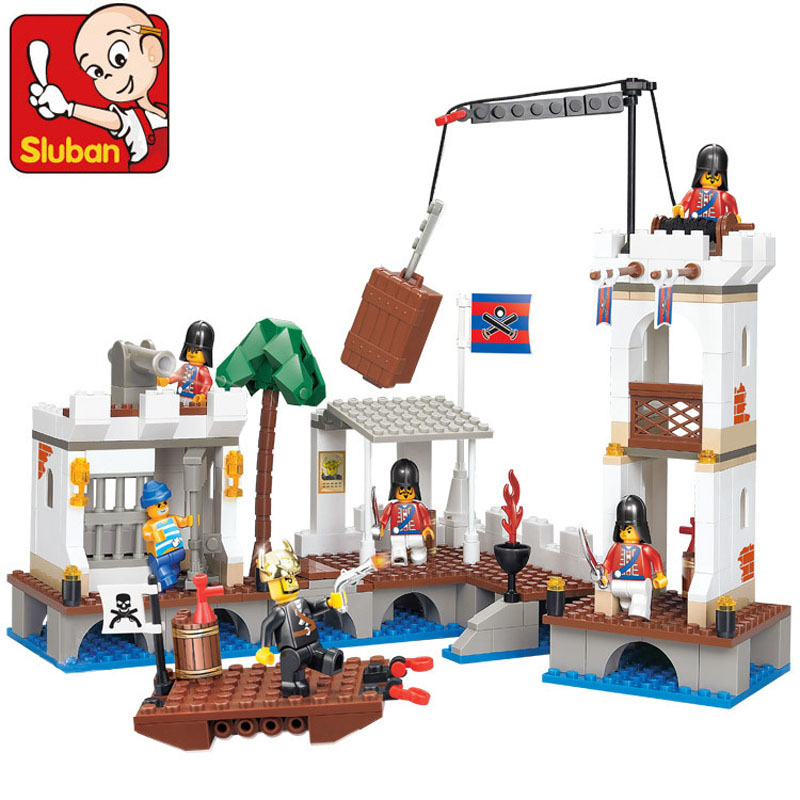 Sluban 339Pcs Piece Pirates Caribbean Ship Attacked Port Royal Harbour Building Blocks Minifigures Brick Toys Compatible