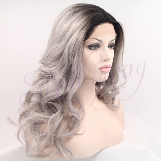 Sexy grey Synthetic Lace Front Wig Glueless wavy black to gray Heat Resistant hair Wigs Free