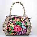 Hot Sell National women bag Folk Floral Peacock Embroidered bag features female fashion embroidery canvas Tote Travel handbag