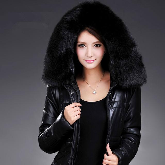 Chaqueta abajo de la mujer Delgada elegante larga sección de la pu de cuero acolchado chaqueta caliente del invierno de Gran abrigo de cuello de piel más el tamaño L-6XL 938
