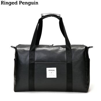 1bf10b6342c7 See More Ringed Penguin PU Leather Travel Bag Women Handbag Big Capacity Men  Women Travel Luggage Bag Leather Weekend Duffel Bags