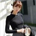 2014 oferta especial Tricotado outono e inverno as mulheres Turn down Collar de médio - longo fino espessamento Hip apertado camisa camisola básica