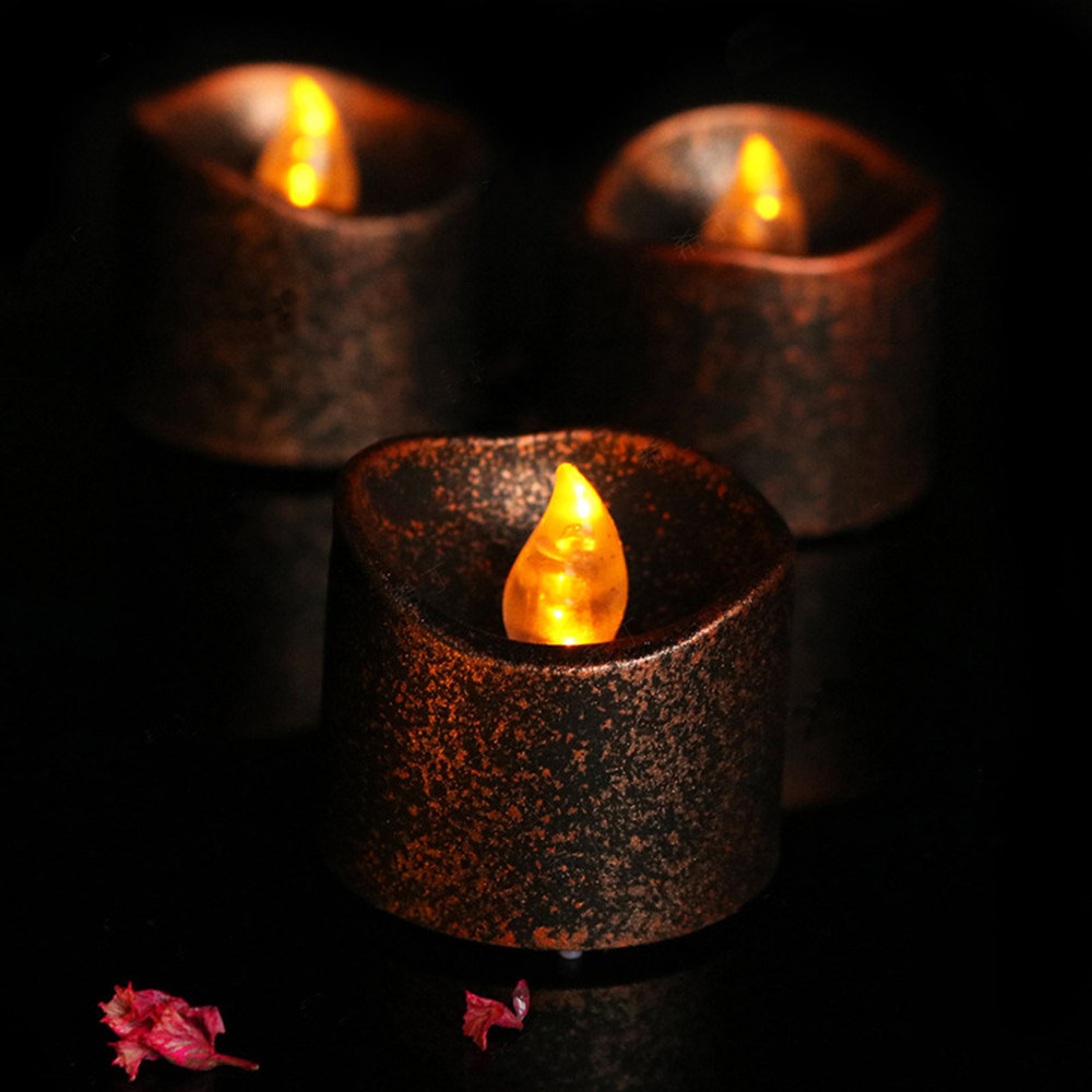 9pcs/24pcs LED Candles Scented Bougie Tea Light Wedding Birthday Candle for Decoration Party Colored Flameless Candles 30C074