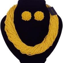 Новинка, ручная работа, многослойное ожерелье, богемные массивные ожерелья с бусинами, серьги, ювелирный набор, Биб Чокер-колье, ожерелье