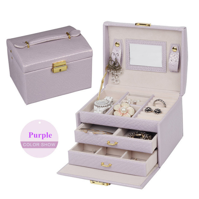 White color Queen style factory outlets fine jewelry boxes Stylish atmosphere leather jewelry holder  jewelry casket