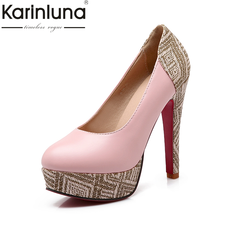 Karinluna 2018 Plus Size 31-46 Slip On Round Toe Woman Pumps Black Pink Shoes Woman High Heels Office Lady Pumps slipony women 8cm high heels shoes pointed toe fashion female bow slip on lady two piece woman d orsay pumps pink beige black