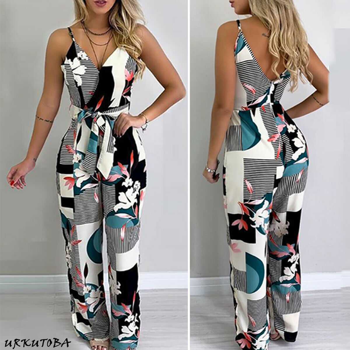 New Women Ladies Fashion Casual Summer Jumpsuit Strappy V Neck Print Sleeveless Loose Jumpsuit Overalls Party Clubwear