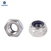 1Bag DIN985 M3 M4 M5 M6 304 Stainless Steel Nylon Self Locking Hex Nuts Locknut Slip