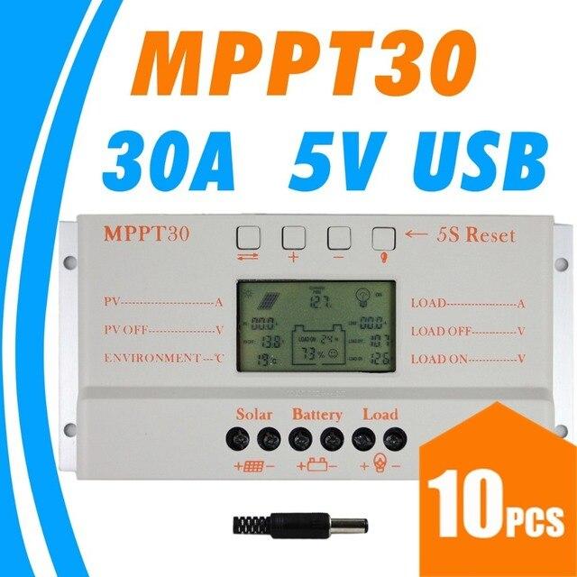 10 قطعة ، الكثير MPPT 30A mppt 30 الشمسية جهاز التحكم في الشحن 12V 24V السيارات العمل مع شاشة الكريستال السائل الجملة