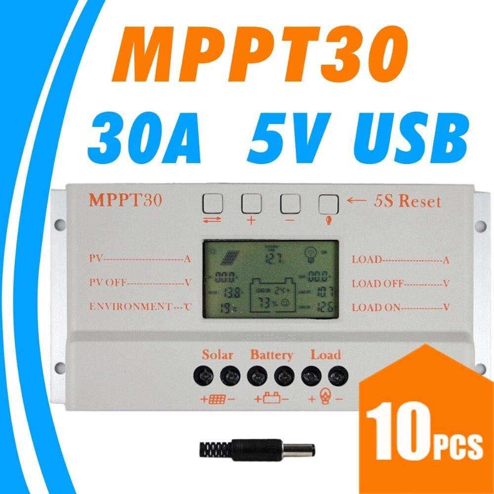 10 pces, lotes mppt 30a mppt 30 controlador de carga solar 12 v 24 v trabalho automático com display lcd atacadodisplay poledisplay handcontrol v -