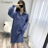 2018 Autumn English Style Ladies Short sleeved Classic Knitted Dress Polo Shirt Slim Fit Ladies Elegant Knitted Dress