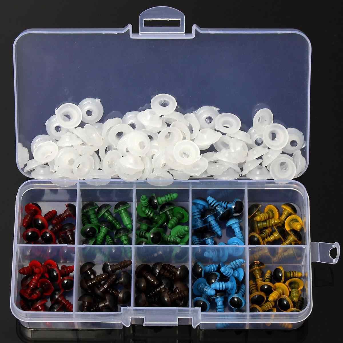 Оптовая продажа 100 шт/50 пар 5 цветов-Смешанные 8 мм безопасные пластиковые глаза коробка для плюшевого медведь Набивная игрушка оснастки животных Перчаточная кукла ремесло DIY