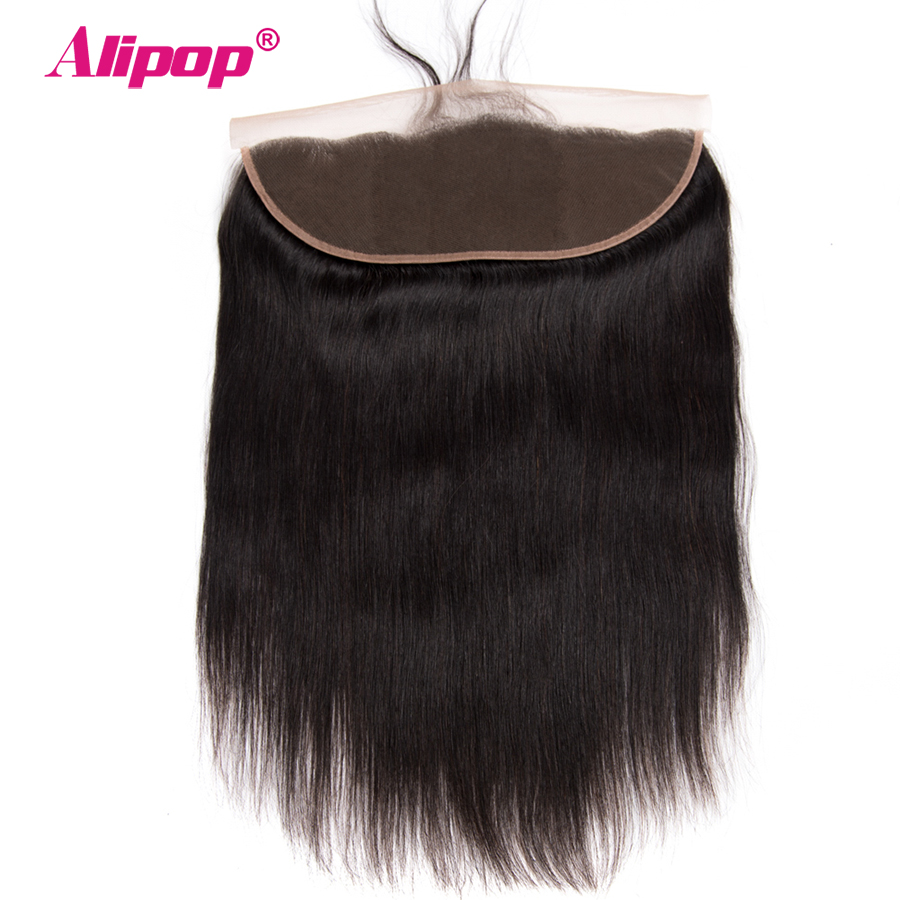 ALIPOP Peruvian Straight 13x4 Ear to Ear Pre Plucked Lace Frontal Closure Remy Human hair Extensions 10-24 Inch Natural Black