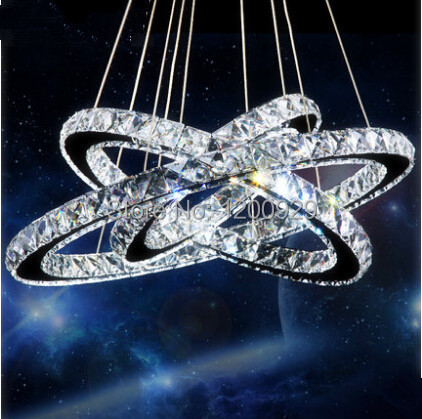 3 Rings Luxury Art Modern D20/30/40/50/60/70CM 100% Guarantee LED Crystal Chandelier Light Lamp Pendant Free shipping PLL-107 wieco art modern 100