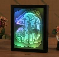 USB Colorful 3D Paper Cut Elk Picture Frame Shadow Night light For Home Office Wedding Decorate Birthday Favor Gift Souvenirs