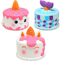 Jumbo Squishy Cute Unicorn Mermaid Whale Cake Squishies Slow Rising Cream Scented Squeeze Toy Phone Strap