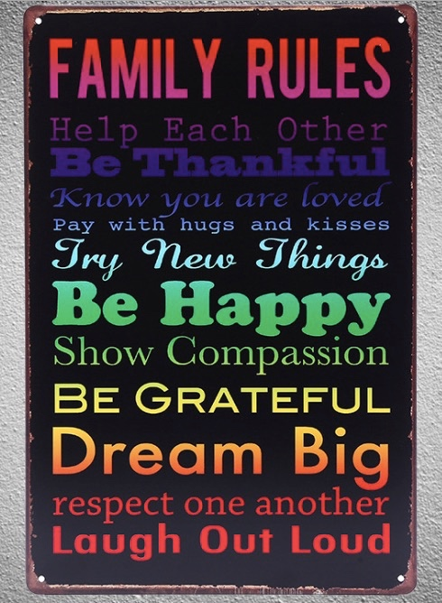 1 pc Family rules quotes happy happiness dream Tin Plate Sign wall plaques man cave Decoration Dropshipping Poster metal in Plaques Signs from Home Garden