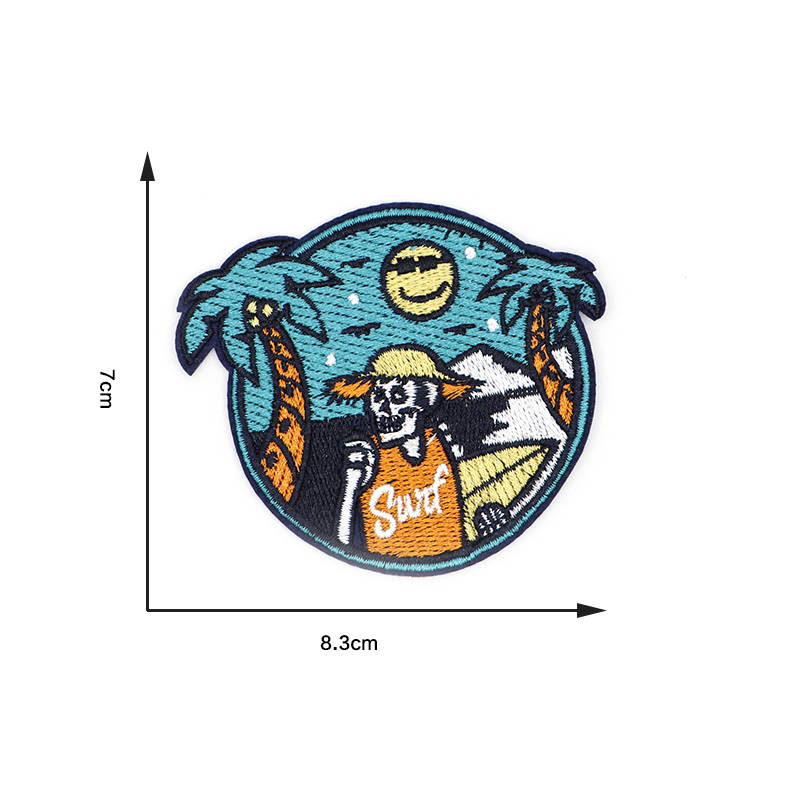 Summer Travel Sea Beach Skull Embroidery Patch Iron On Patches For Clothes DIY Accessory Bag Applique Armband Book Stickers S33 1