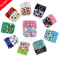 5PCS Reusable Waterproof Baby Cloth Diaper Nappy Printed PUL Bamboo Charcoal Inner Double Gussets Color Tab Color Snap Wholesale
