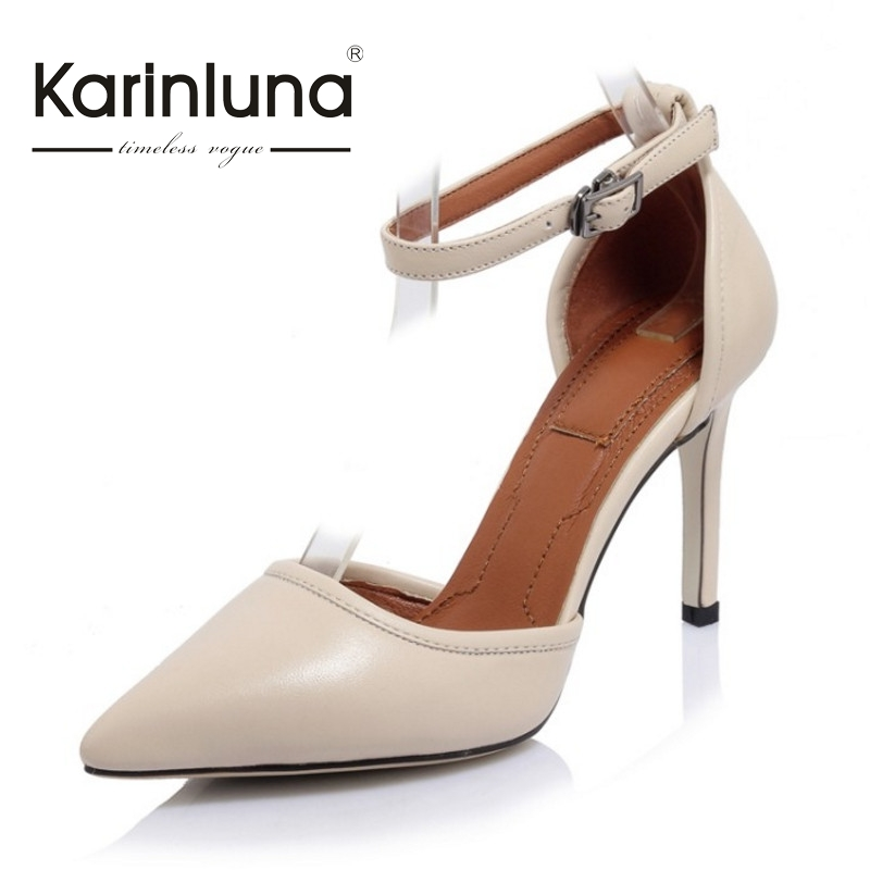 ФОТО KARINLUNA Brand New Sexy Nature Cow Leather Pointed Toe Woman Pumps European Style Thin High Heels Party Wedding Shoes Women