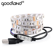 Goodland DC5V Cable USB LED Luz de tira 5050 Navidad Flexible tira de LED luz de fondo tipo TV 3 Llaves remoto Mini 50CM 1M 2M(China)