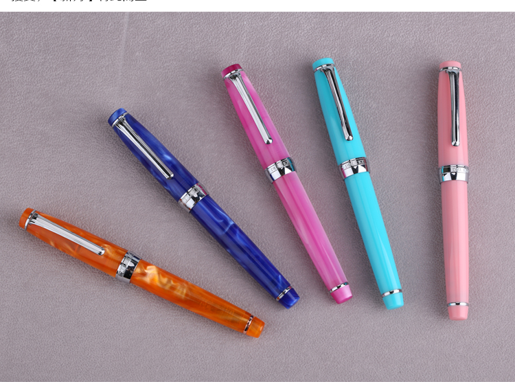 1 Piece Pink/Blue/Cyan Extra Fine Nib 0.38mm Fountain Pen Delike NewMoon EF Student Writing Pens Stationery School Supplies